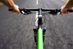 Bicycle rider, mountain bike motion blur Stock Images
