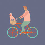 Bicycle rider in vector. Funny cartoon character a man riding   with little dog in bike basket. Stock Image