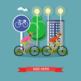 Bicycle riders on bikes in city park. Biking sport concept cartoon banners. Vector illustration Stock Photography