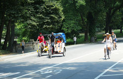 Bicycle riders in Central Park Stock Photo
