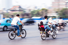 Bicycle riders in the city Royalty Free Stock Photography