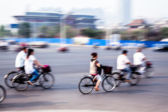 Bicycle riders in the city Stock Image