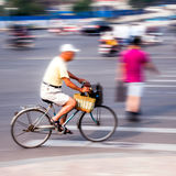 Bicycle riders in the city Stock Photos
