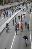 Bicycle riders parade in Moscow city center. Royalty Free Stock Photo