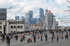Bicycle riders parade in Moscow city center. Royalty Free Stock Photos