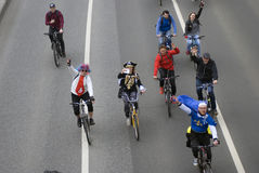 Bicycle riders parade in Moscow city center. Stock Photo