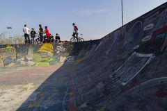 Young bmx bicycle riders. Bicycle riders in the park Stock Photos