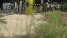 Bicycle riders test track for BMX challenge competition circuit. Stock footage stock video