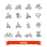 Bicycle riders thin line art icons set. Different types of bikes, cycling accessories, spare parts. Linear style symbols isolated on white Stock Images