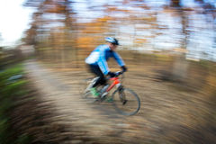 Bicycle riding in a city park on a lovely autumn/fall day. (motion blur is used to convey movement royalty free stock photography