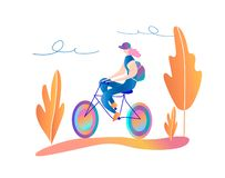 Bicycle riding girl. A walk on the bike. vector illustration