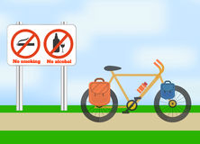 Bicycle on road. Bicycle tourism sport. Royalty Free Stock Photos