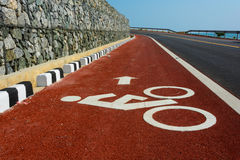 Bicycle road. Bicycle line Driving up to road Stock Image