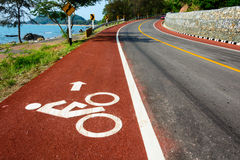 Bicycle road. Bicycle line Driving up to road Royalty Free Stock Image