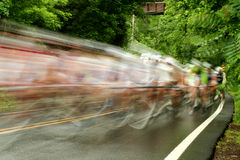 Bicycle road race. A motion blur Bicycle road race Royalty Free Stock Photo