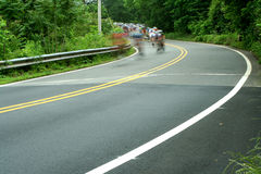 Bicycle road race. A bicycle road race showing motion Royalty Free Stock Images