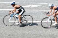 Bicycle road race bike in action. Two bicycle road race bike in action with motion blur Stock Images