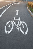 Bicycle road sign. Painted on the pavement Royalty Free Stock Photo