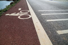 Bicycle road sign. Painted on the pavement Royalty Free Stock Image