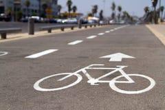 Bicycle road sign. On asphalt in Tel-Aviv, Israel Royalty Free Stock Photos