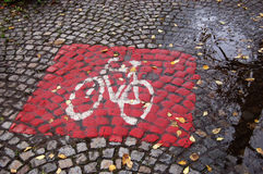 Bicycle road sign. On a rainy day Stock Images