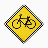 Bicycle road sign. Bicycle road sign against white background Stock Images