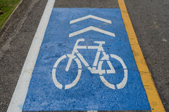 Bicycle road sign. On the road royalty free stock images