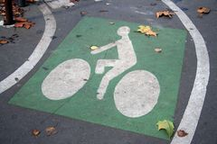 Bicycle road sign. Painted on asphalt Stock Photography