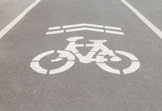 Bicycle road sign and arrow Royalty Free Stock Images