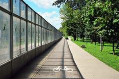 Bicycle road sign on bicycle lane Stock Photos