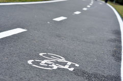 Bicycle road sign, bike lane. In the city Royalty Free Stock Image