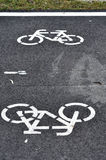 Bicycle road sign, bike lane. In the city Royalty Free Stock Photos
