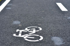 Bicycle road sign, bike lane. In the city Royalty Free Stock Images
