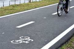 Bicycle road sign, bike lane. In the city Stock Images