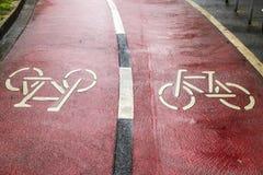 Bicycle road sign on bike lane