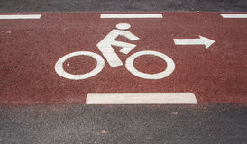Bicycle road sign. Painted on the pavement Stock Photography