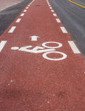 Bicycle road sign. Painted on the pavement Royalty Free Stock Photography