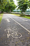 Bicycle road sign in park Stock Photo