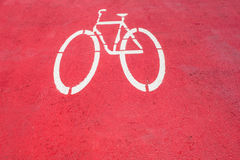 Bicycle road sign on red background. Bicycle road sign on red background,Thailand Stock Image