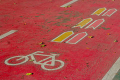 Bicycle road sign on the road Royalty Free Stock Image