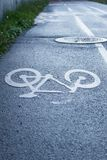 Bicycle Road Sign. On Wet Tarmac Shot Vertically Stock Photos