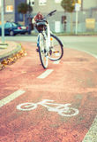 Bicycle road symbol over street bike lane with Stock Photography
