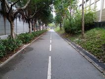 Bicycle road in Tseung Kwan O. A long way like our life Royalty Free Stock Photography