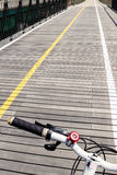 Bicycle road wooden bridge with bicycle handle. Blur focus in Korea Stock Photo