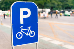 Bicycle route sign on the road. Stock Images