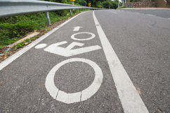 Bicycle route sign on scenic route Stock Photos
