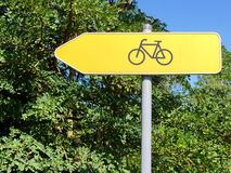 Bicycle route yellow sign Stock Photography