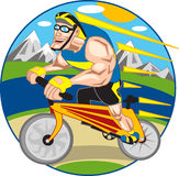 Bicycle Runner. A Man climbing a mountain riding his bicycle vector illustration