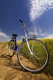 Bicycle on rural road wayside Royalty Free Stock Photos