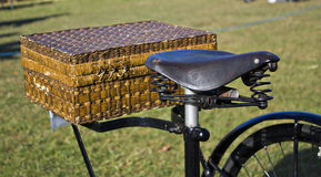 Bicycle saddle and basket Royalty Free Stock Photos